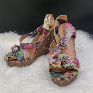 Naughty Monkey floral and sparkle wedge heels